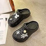 Kirin-1 Sandalias Cangrejeras Mujer para La Playa,Zapatos Y Complementos,Moda De Verano Gruesa, Femenina, con Una Sonrisa Roja.-33_Negro 1