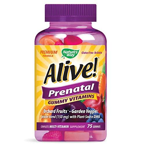 Nature's Way Alive! Prenatal Premium Gummy Multivitamin with DHA, Full B Vitamin...