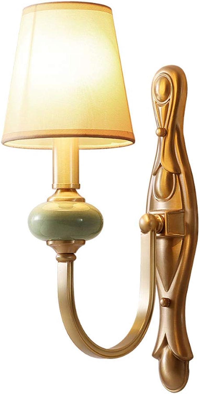 YangMi Wandlampe- Vintage Kupfer Wandleuchte Schlafzimmer Nacht Wohnzimmer Esszimmer Treppen Gang Lichter (Farbe   Gold, gre   15x38cm)