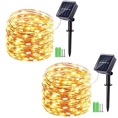 2 Stück Solar Lichterkette Aussen, Geemoo 17M 150 LED Solar Kupferdraht Lichterkette, 8 Modi Wasserdicht Solarlichterkette für Außen, Garten, Terrasse, Balkon Deko (Warmweiß)