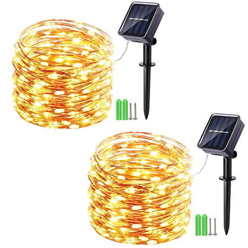 Geemoo 2 Pack Solar Fairy Lights, 49ft 150 LED Solar Lights Outdoor String, 8 Modes Waterproof Copper Wire Solar Powered Decorative Lights for Garden Patio Trees Party (Warm White)