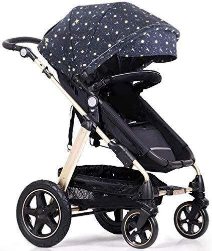Landaus High View Poussette bébé, Poussette Buggy Compact, Portable Pram Transport Anti-Choc en Aluminium Poussette Fournitures pour bébé ( Color : Black )