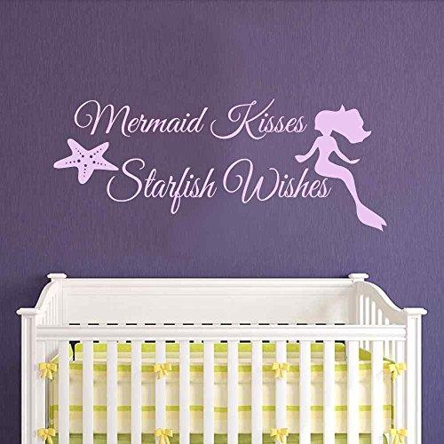 Besos de sirena adhesivo–de sirena para pared estrella de mar deseos–Las niñas Habitación Bebé arte de pared vinilo adhesivo decorativo para pared de cuna (14'H x34' W, Hortensia, color morado)