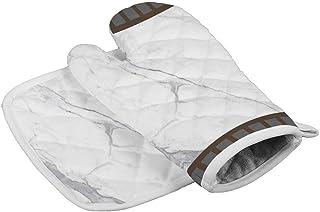 Eybfrre - Juego de guantes de horno y ollas de mármol a rayas resistentes al calor, agarre antideslizante, guantes de cocina, resistentes al calor, guantes de cocina, guantes de cocina para mujer