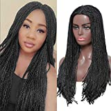Box Braided Wigs for Black Women 22 inch Long Straight Box Braiding Hair Glueless None Lace Front Wig Braided Wig Fake Scalp Synthetic Heat Resistant Fiber Micro Crochet Twist Braids Hair Natural Black Color for Afro Women Daily Wear