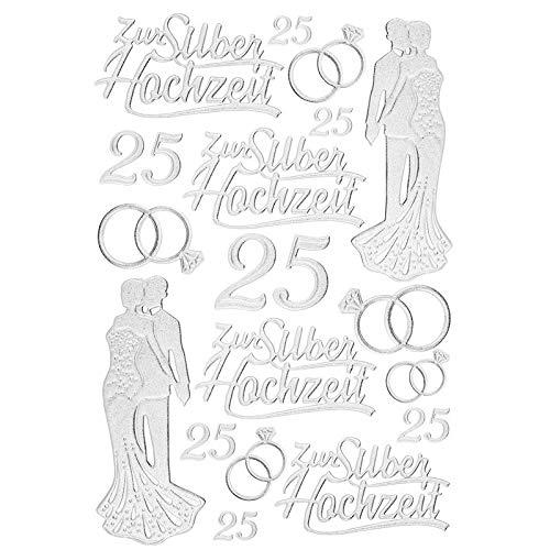 Ideen mit Herz 3-D Sticker Deluxe, zur Hochzeit, Verschiedene Hochzeitsmotive, erhabene Aufkleber, Bogengröße: 21 x 30 cm (Silberhochzeit)