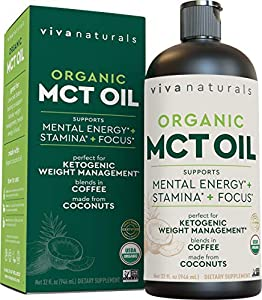 Organic MCT Oil for Morning Coffee - Best MCT Oil Keto Supplement for Sustained Energy, Paleo Diet Certified, 32 fl oz by Viva Naturals