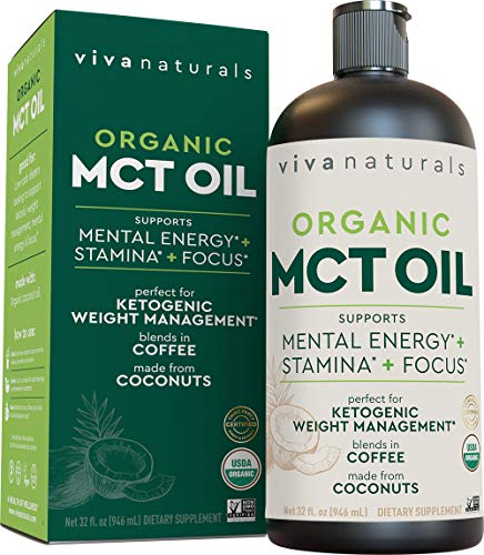 Organic MCT Oil for Morning Coffee - Best MCT Oil Keto Supplement for Sustained Energy, Paleo Diet...