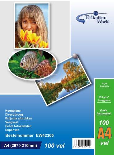 EtikettenWorld 100 hojas papel para foto A4 230 g/qm brillo...