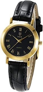 DR8988 Men Women Quartz Watch Japan Movement Wristwatch Leather Strap Waterproof Wrist Watch Roman Numerals