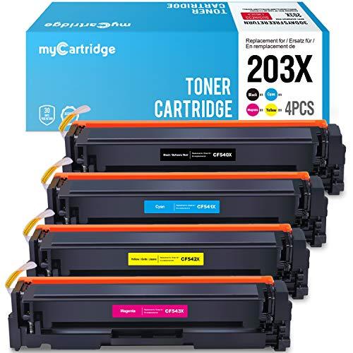 Mycartridge Tóner Compatible para HP 203x 203A cf540x-cf543x para HP Color Laserjet Pro MFP m281fdw m280nw m281fdn HP Laserjet m254nw m254dw (Negro,Cian,Magenta,Giallo)