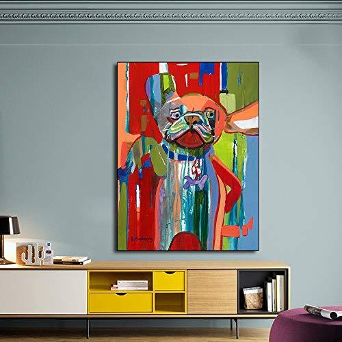 N / A Rahmenlose Malerei Abstrakte Hundefarbe Leinwandkunst, Farbtierkunstplakat und WohnzimmerwanddekorationZGQ8338 50x66cm