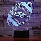 ZWANDP Baltimore Ravens Nachtlicht LED Dekor 3D Illusion Berührungssensor Kinder Kinder Junge Geschenk Tisch Schlafzimmer Lampe American Football Team