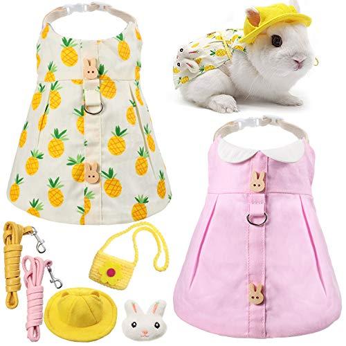 2 Pieces Pet Rabbit Dress, Small Animal Harness Vest and Leash with Mini Hat Bag Travel Escape Proof Pet Harness Dress for Rabbit Hedgehog Ferret Guinea Pigs Piggies Squirrel (Pink)
