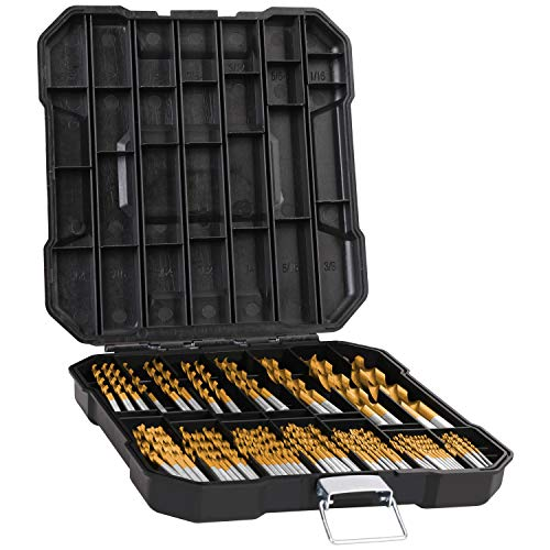 99 Pieces Titanium Twist Drill Bit Set, Anti-Walking 135° Tip High Speed Steel, Size from 1/16' up to 3/8', Ideal for Wood/Steel/Aluminum/Zinc Alloy, with Hard Storage