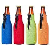 Ingjie Enfriador de botellas de cerveza con cremallera, 4 unidades (330 ml) de neopreno...