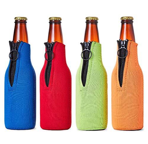 Ingjie Enfriador de botellas de cerveza con cremallera, 4 unidades (330 ml) de neopreno aislado plegable