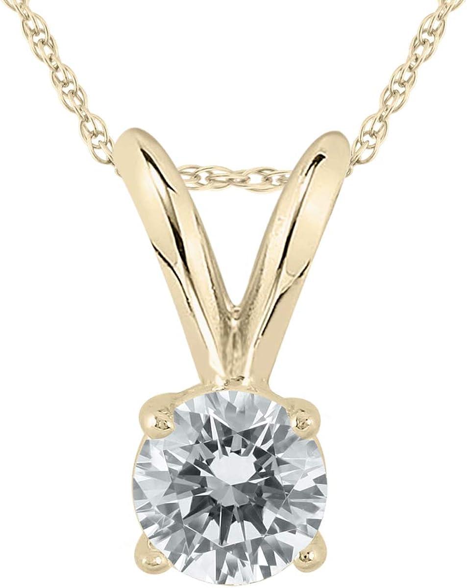 1/10 Carat Round Diamond Solitaire Pendant in 14K Yellow Gold