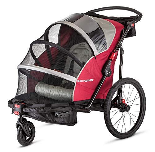 Schwinn Joyrider Child Bike Trailer, Single and Double Baby Carrier, Canopy, 20-inch Wheels