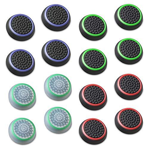 Fosmon (8 Parejas / 16 Contar) Analog Controller Silicona Palo Grips Cap Joystick Thumb Stick Funda para PS4, PS3, Xbox One, y Xbox 360 - Fosmon empaquetado
