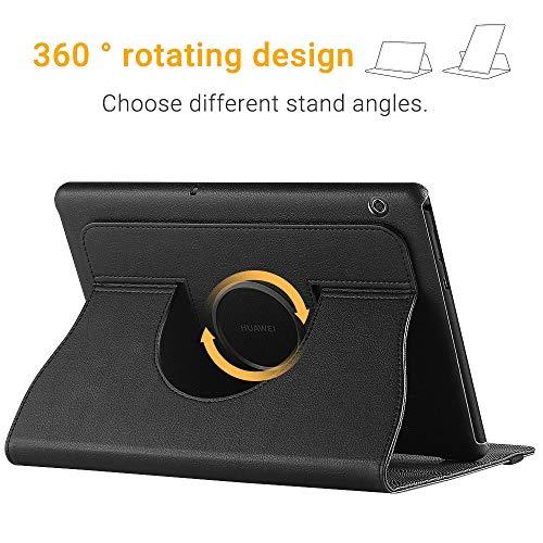 EasyAcc Hülle für Huawei Mediapad T5 10, 360 Grad Drehung Schutzhülle Flip Case Book Cover Lederhülle mit Standfunktion - PU Leder (Schawz - 360 Grad Drehung)