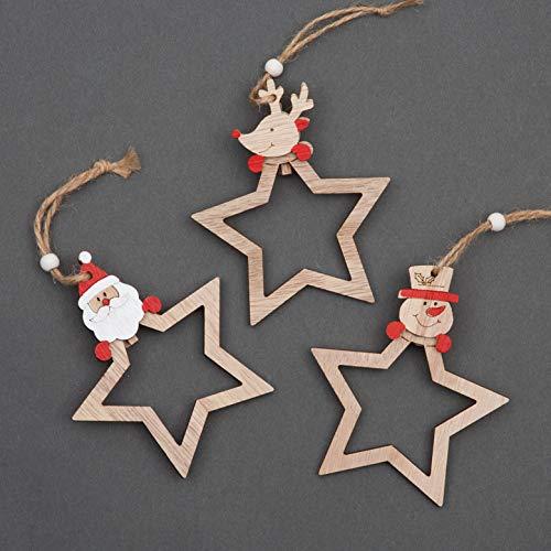 SHATCHI Lot de 3 décorations en Bois pour Sapin de Noël - Décoration de Noël à Suspendre - Décoration de Maison - Étoile en Forme de Père Noël, Renne, Bonhomme de Neige (9 cm)