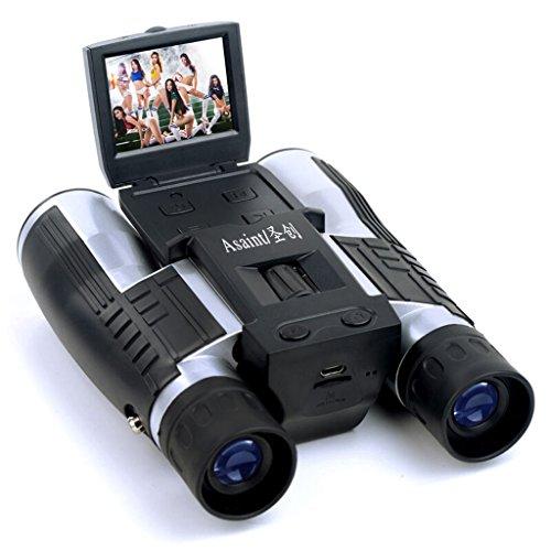PIGE Telescope Caméra LCD Appareil photo numérique Jumelles 12x32 5MP Video Photo Enregistreur numérique pour regarder Bird, Football Game, Concert