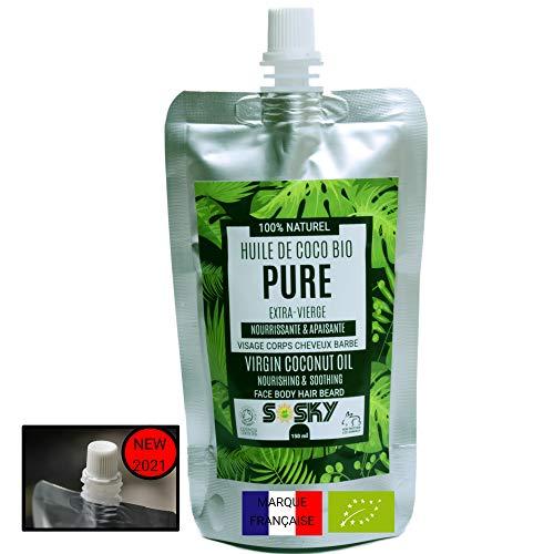 SOSKY Huile de Coco Bio - Pressée à Froid - 150 ml Doypack - 100% Brute - Soins de la Peau Cheveux Barbe - Excellente Huile de Massage - Anti cellulite - Anti inflammatoire - Antimicrobienne