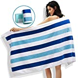 WIIKWEEK Large Beach Towel, 100% Cotton Stripe Pool Towel for Swim, SPA, Yoga, Travel-Soft, Highly Absorbent, Skin Friendly (30' x 60', 1 Pack)