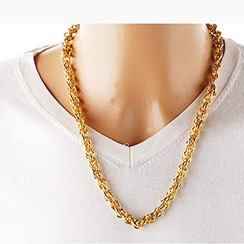 24k Thai Gelbgold GP gefüllt Halskette Schmuck kubanischen Link Das Aussehen und das Gefühl von Solid Gold Rope Chain Goldkette für Männer und Frauen,2mm