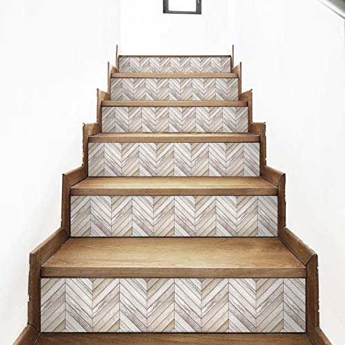 AMAZING WALL Wood Grain Stairs Self Adhesive Decoration Wall Sticker,7.1x39.4inch,6pcs