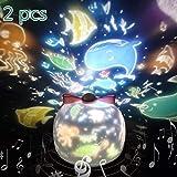 Lámpara Proyector Estrellas, XFXD 360° Rotación Músic Lampara luz nocturna LED para bebés, con 12 películas de proyección, Aplicar para Habitación Bebé, Dormitorio, Sala, Pasillos [2pcs]