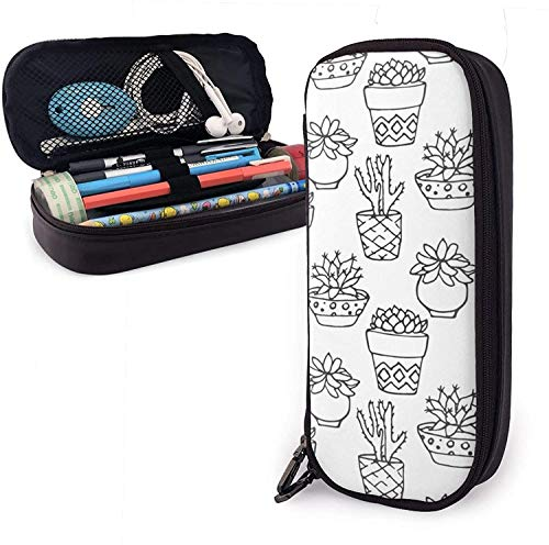 Astuccio in pelle Cactus Bonsai Pu, borsa per penna di grande capacità, organizer per cancelleria per studenti durevoli con cinture elastiche a doppia cerniera per ufficio scolastico