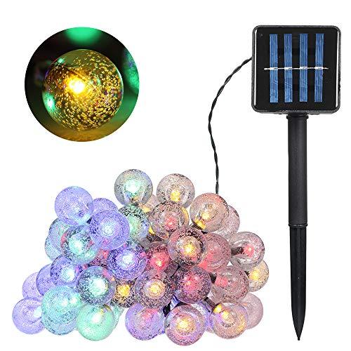 Lixada Lichtsnoer op zonne-energie 7 m / 22,97 ft 50 gloeilampen Crystal Ball Globe lamp IP65 waterdicht outdoor lichtsnoer voor vakantie party woonkamer tuin terras