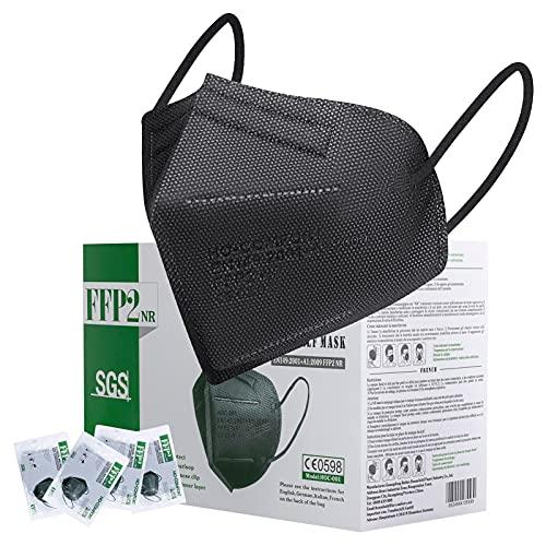 Maske FFP2 CE Zertifiziert Schwarz - 25 Stück Maske CE 0598 - Premium 5 Lagige hygienische Einzelnverpackung Atemschutzmaske Staubschutzmaske Mundschutzmaske