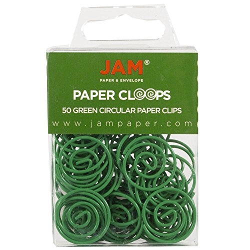 JAM PAPER Circular Paper Clips - Round Paperclips - Green - 50/Pack
