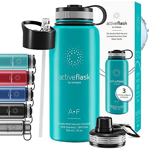 Gourde INOX Isotherme Active Flask 1l/500ml sans BPA + Paille (3 Bouchons) | Bouteille d'Eau Acier...