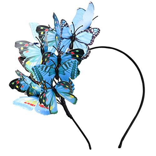 Schmetterling Fascinator Hut Monarch Derby Stirnband Festival Krone Halloween Kostüm Bohemian Hochzeit Kopfbedeckung -  Blau -  Einheitsgröße