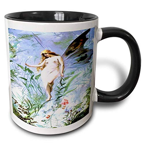 Novelty Ceramic Mug 11 oz Funny Coffee Mug Unique Gift Pink Angel With Blue N Green Botanical Two Tone Black Mug Multicolor Coffee Cup wiht Colored Rim and Handle for Men Women