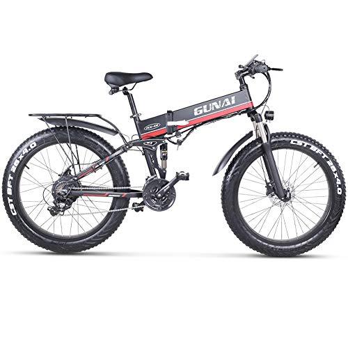 GUNAI Elektrisches Fahrrad 48V 1000W Männer, das Ebike 21 Geschwindigkeits-Mountain & Road Fahrrad mit 48V 12Ah Lithium-Batterie mit Rücksitz