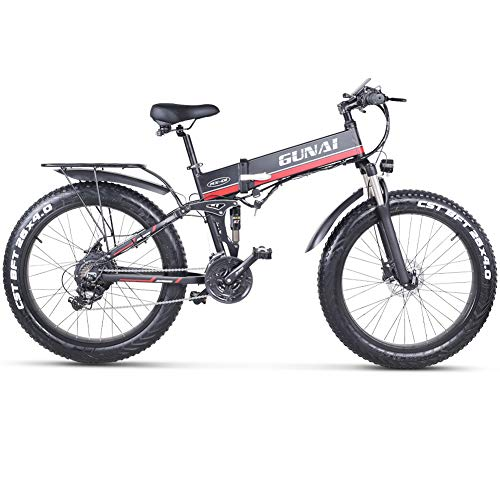 GUNAI 26 Inches Electric Snow Bike 1000W 48V Folding Fat Tire Mountain Bike with Rear Seat MTB 21 Speed E-bike Pedal Assist Hydraulic Disc Brake