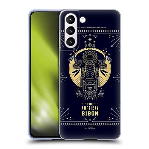 Head Case Designs Licenza Ufficiale Cat Coquillette Bison Lineare Cover in Morbido Gel Compatibile con Samsung Galaxy S21 5G