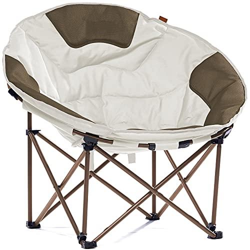 Skandika Moonchair XXL   Großer, bequemer Campingstuhl, Camping Sessel rund, Mondsessel, gepolstert, klappbar, Tragetriff und Tragetasche, Anti-Rutsch-Füße, sehr robust   max. 150 kg (beige/braun)
