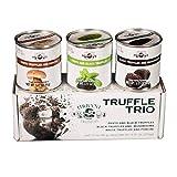 Truffle Sauce Thrills TRIO: Black Truffles and Mushrooms, Porcini and Truffles, Pesto and Black Truffles. 3.17oz Each.