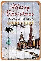 すべてへのメリークリスマスと家、部屋、農家のためのすべての良い夜、クラブ金属ビンテージブリキサイン壁装飾12 x 8インチ