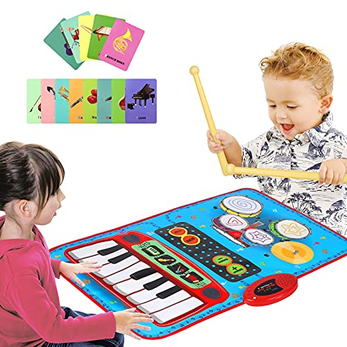 Cyiecw Musical Mats with Piano and Drum Sounds, Mini 2 in 1 Music Playmat Child Music Dance Mat Touch Playmat Early Education Toys for Girls Boys Toddlers, 27.5'' x17.7''