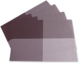 Gourmet Art 12-Piece Stain Resistant Anti-Skid Woven PVC Placemats/Table Mats, Brown Check for Dining Room Table, Kitchen, Party, Event, Holiday and Everyday Use