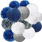 18pcs Navy Blue, White, Grey Tissue Paper Flowers Pom Poms Paper Lanterns Party Girl Decorations for Wedding Bridal Shower graduation bachelorette celebrate first birthday graduate supplies