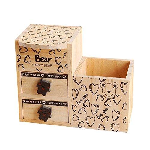 MoGist Portapenne a forma di orsetto, multifunzione, in legno, da tavolo, organizer da scrivania, organizer per trucchi, portapenne, portapenne