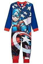 Marvel Capitan America Pijama Entero para Niños, Pijama Niño de Una Pieza, Pijama Polar Niño, Merchandising Oficial, Regalos para Niños 18 Meses- 12 Años (Azul, 11-12 años)